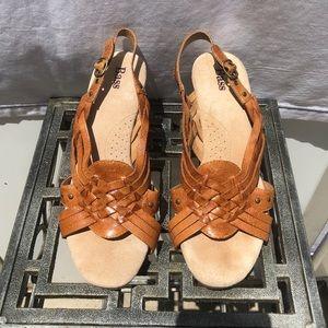 Bass Deena Cognac Leather Wedge Sandal Size 8